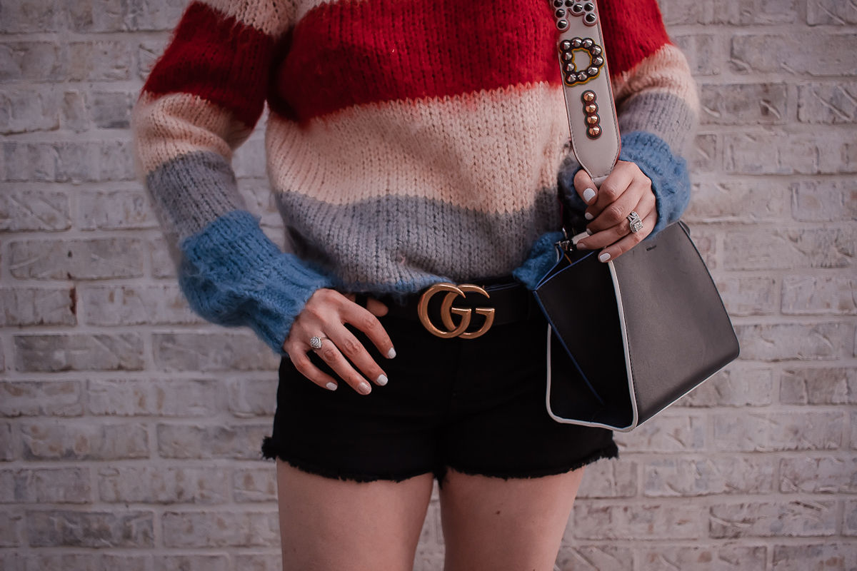 How To Wear A Designer Belt: Gucci & Louis Vuitton, gucci marmont belt, striped sweater, black denim shorts, fendi mini 3 jours