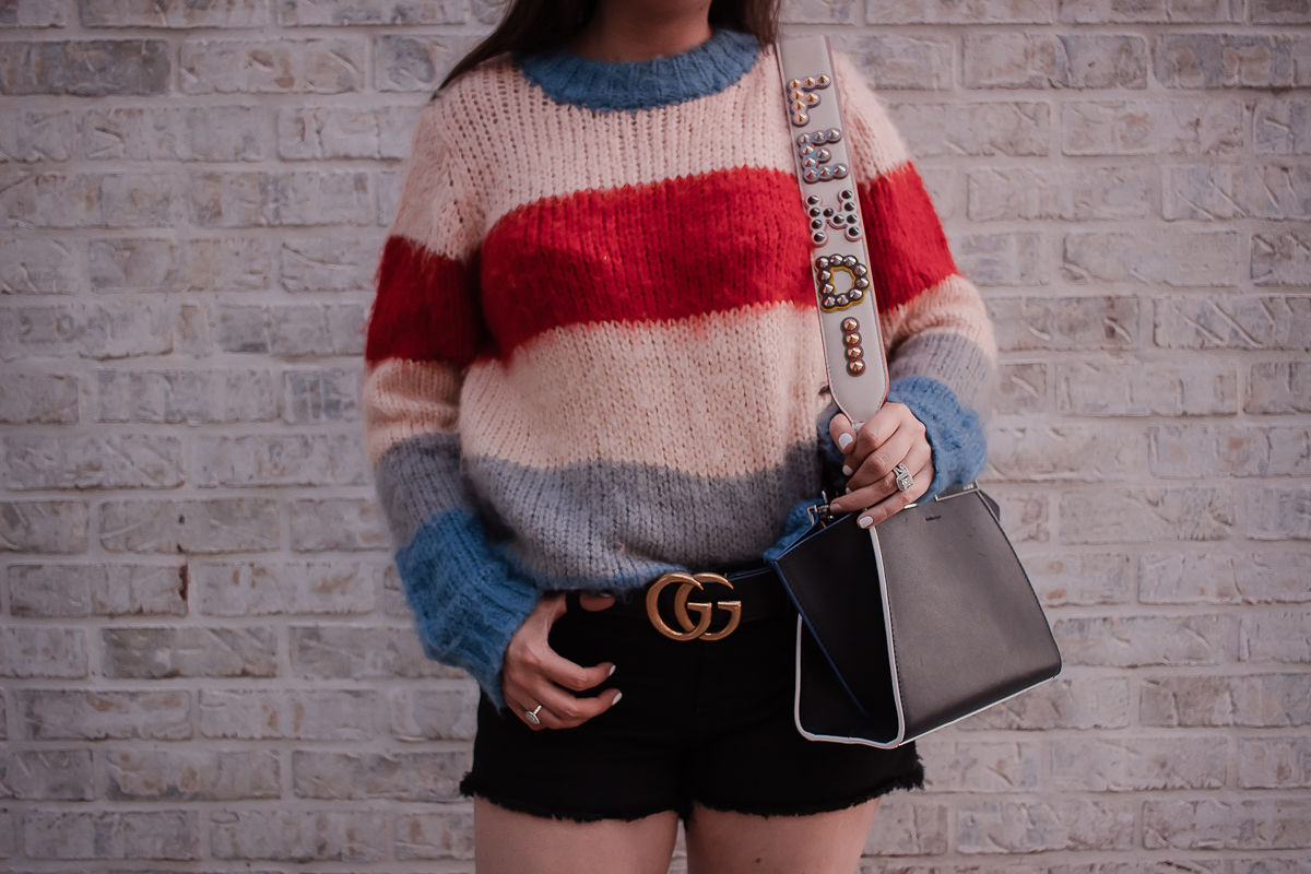 Fendi bag strap, striped sweater, black denim shorts, fendi mini 3 jours handbag, fendi bag strap review, gucci marmont belt, black gucci belt, spring 2019 outfit inspiration, sweater and short outfit