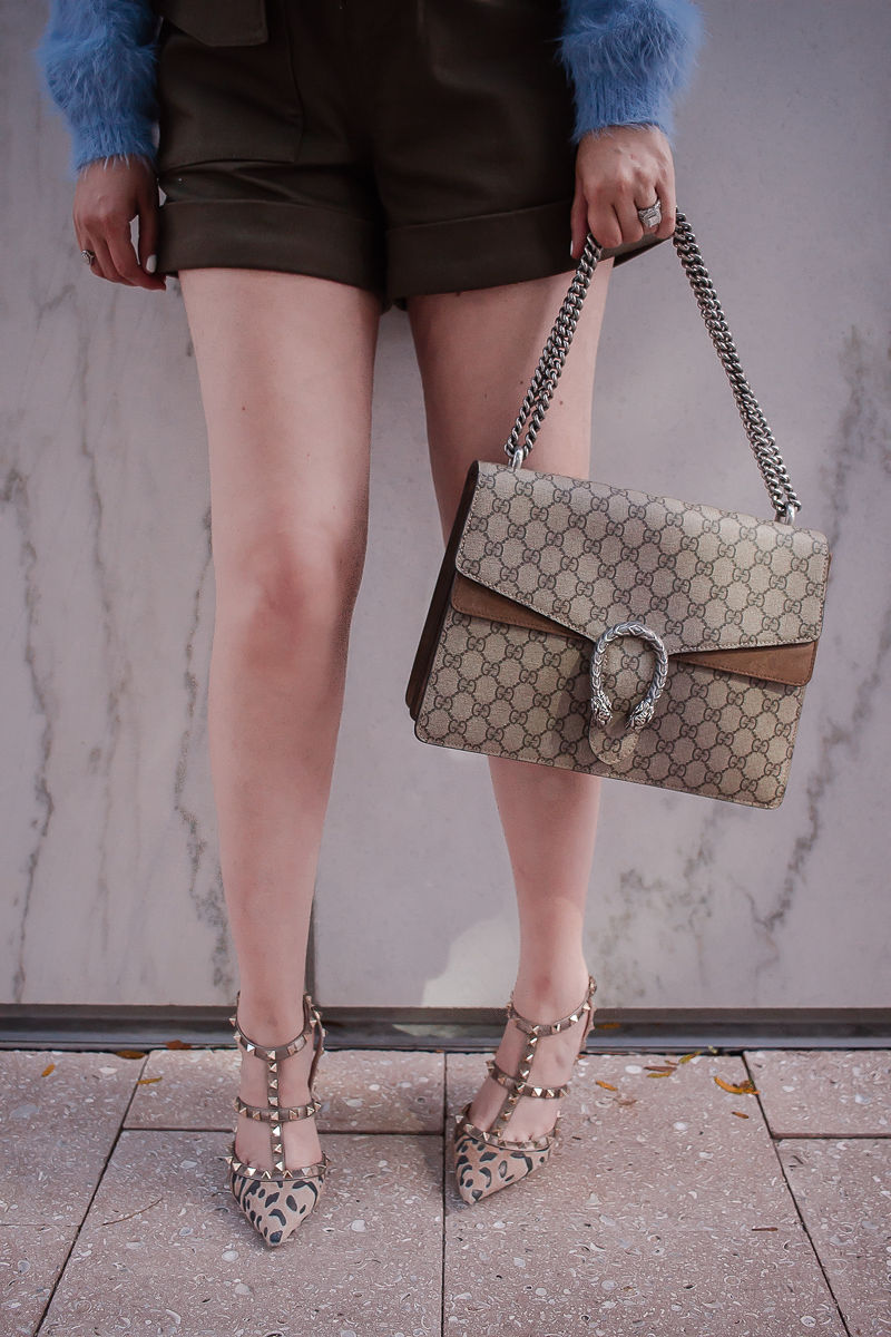 self portrait twill shorts | valentino rockstud leopard heels | gucci dionysus medium handbag |