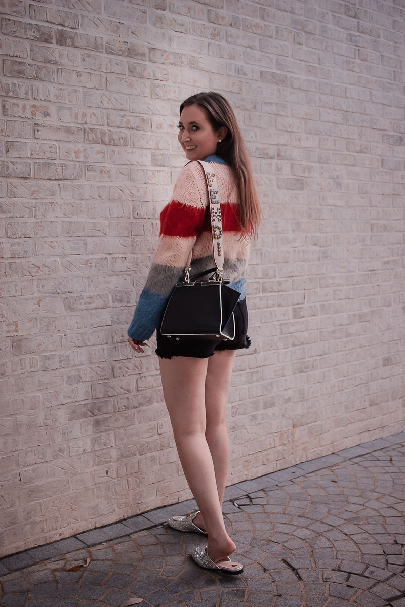 Fendi bag strap, striped sweater, black denim shorts, fendi mini 3 jours handbag, fendi bag strap review