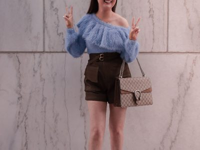 Best Spring Sweater I Can't Stop Wearing | Best spring sweater | off the shoulder sweater | fuzzy one shoulder sweater| house of harlow sweater| self portrait twill shorts | valentino rockstud leopard heels | gucci dionysus medium handbag