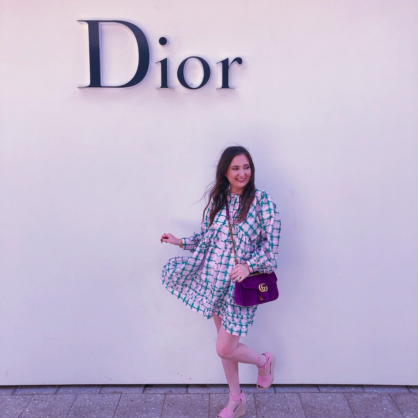 Dior Cafe Miami, cafe dior, cafe dior miami, what cafe dior miami looks like, dior latte, sister jane smock dress, sister jane dress, pink marc fisher wedges, pink marc fisher alina wedges, purple velvet gucci marmont, gucci marmont velvet, dior store, dior miami store