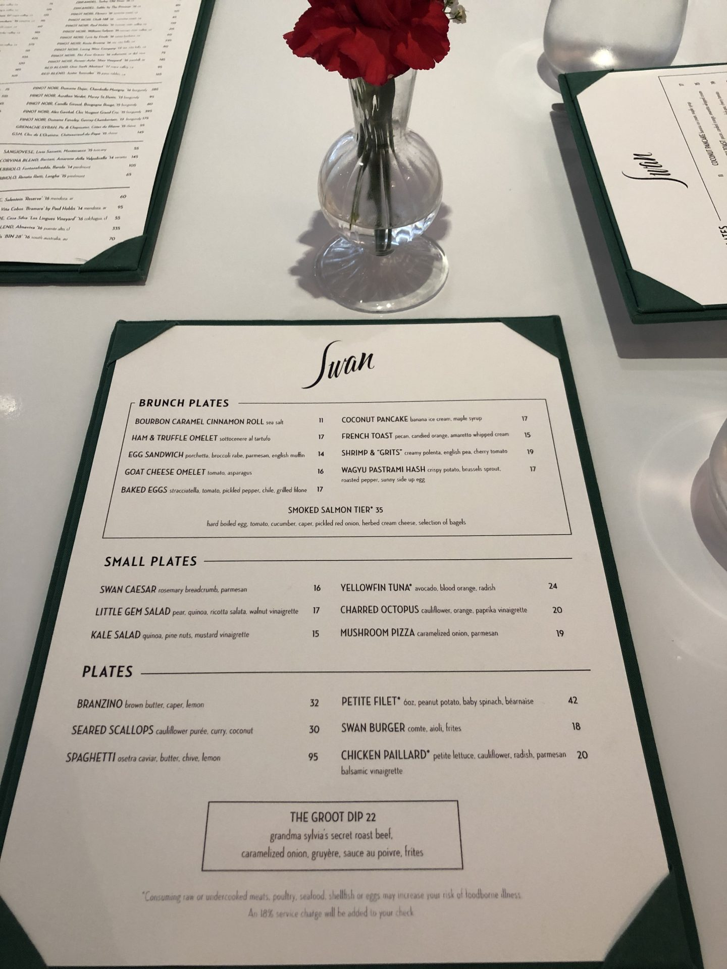 Swan miami menu