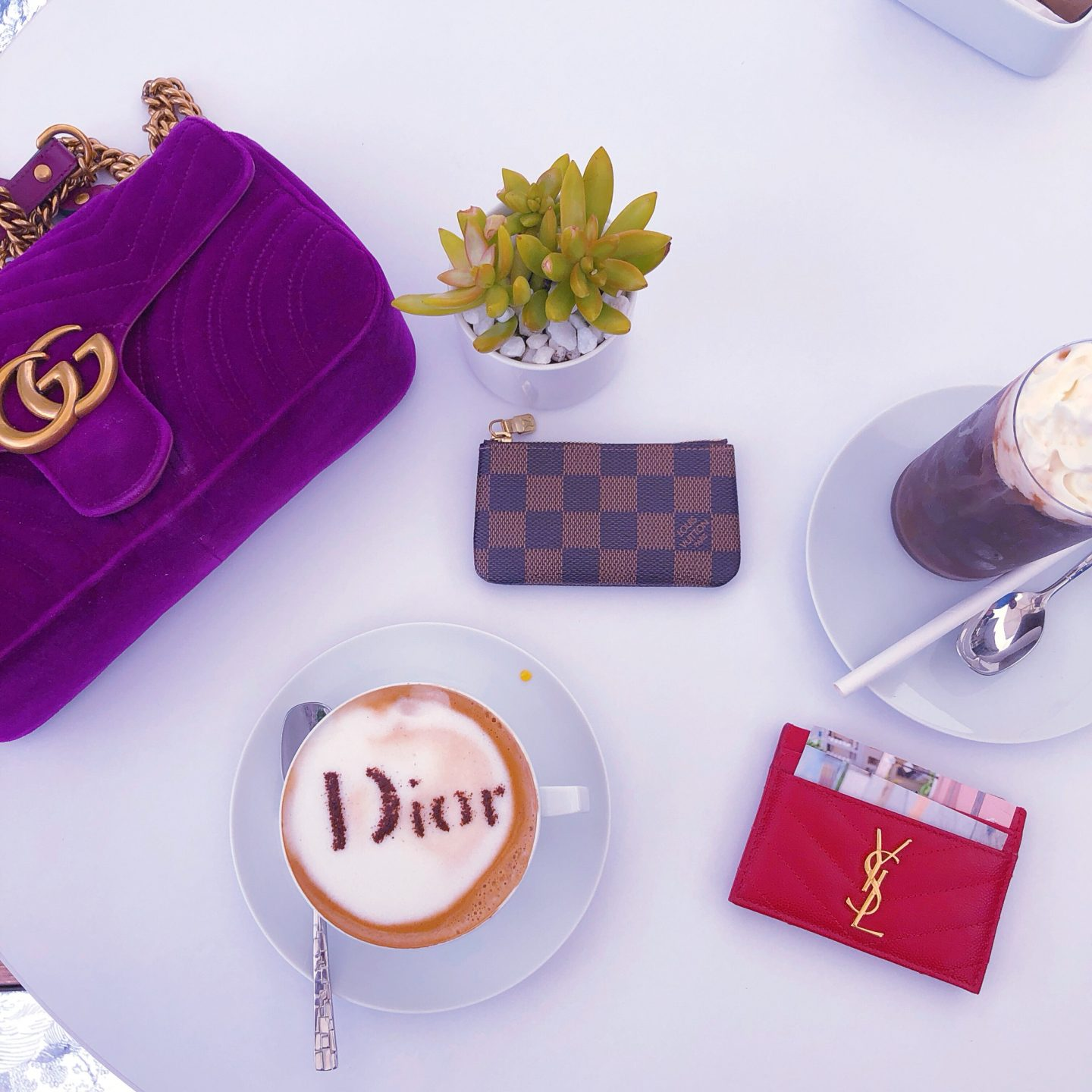Dior Cafe Miami, cafe dior, cafe dior miami, what cafe dior miami looks like, dior latte, cafe dior latte, dior engraved latte, what dior latte looks like, gucci marmont velvet, louis vuitton key pouch damier ebene, ysl card case red