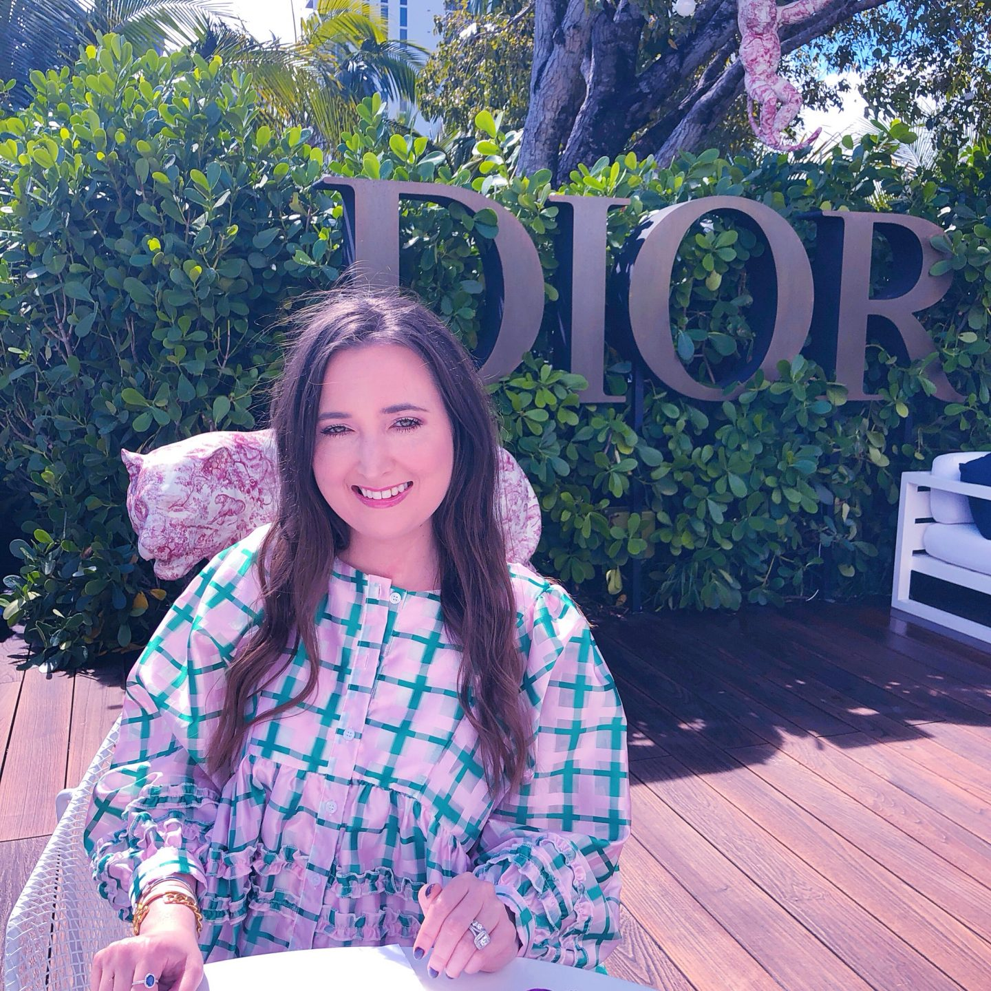 Dior Cafe Miami, cafe dior, cafe dior miami, what cafe dior miami looks like, dior latte, sister jane smock dress, sister jane dress