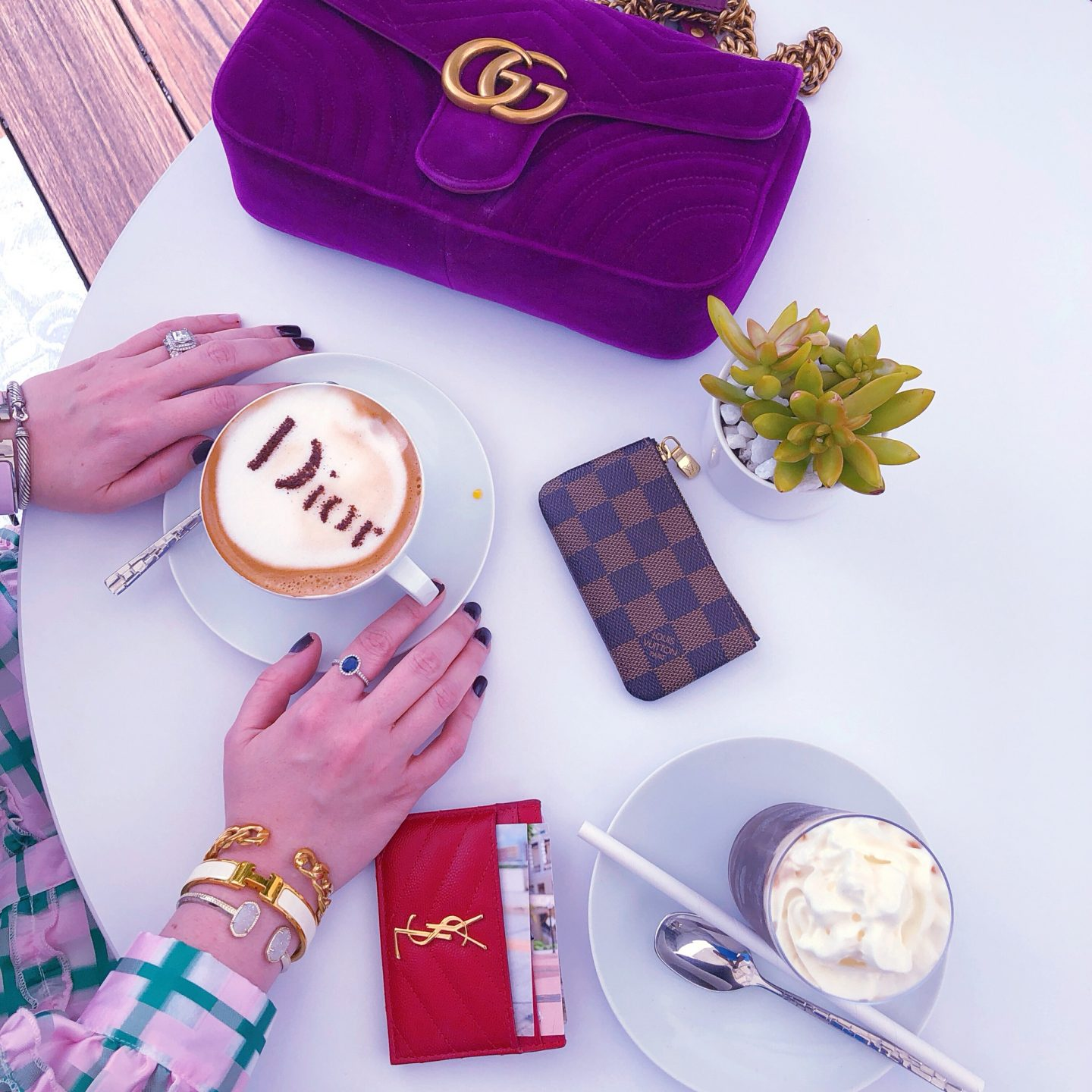 Dior Cafe Miami, cafe dior, cafe dior miami, what cafe dior miami looks like, dior latte, cafe dior latte, dior engraved latte, what dior latte looks like, gucci marmont velvet, ysl card case, saint laurent card case red, lousi vuitton damier ebene, louis vuitton key pouch