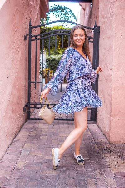 Misa eliza dress | Chanel espadrilles | Saint Laurent wallet on chain | Tiffany Pearl studs | espnaola way miami | miami fashion blogger | misa los angeles | Misa los angeles eliza dress