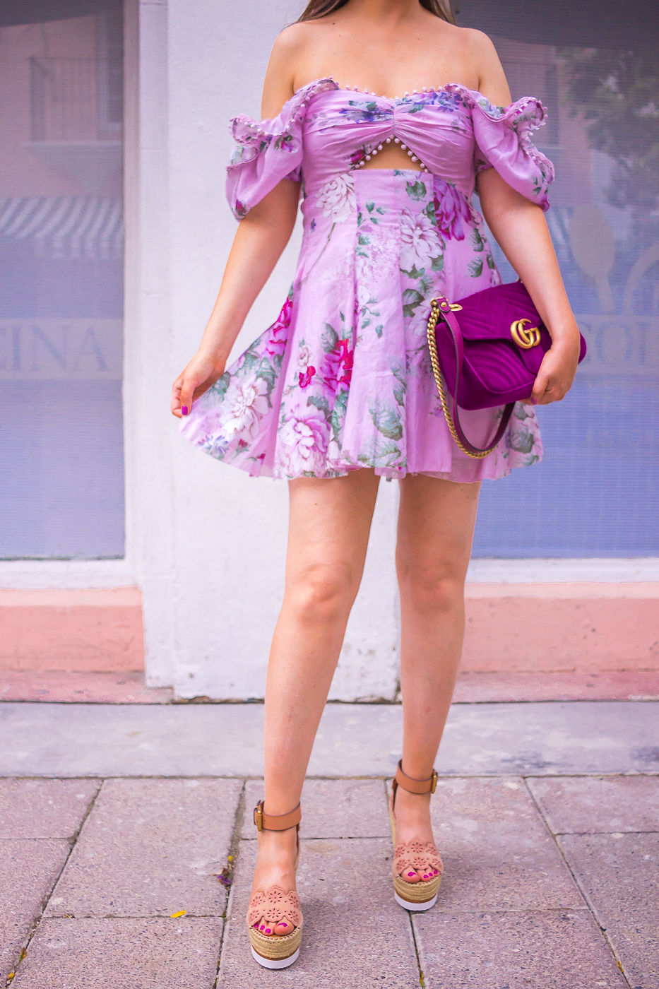 Alice McCall peony cutout dress | gucci marmont velvet bag | see by chloe glyn wedges | spring outfit | summer dress 2019