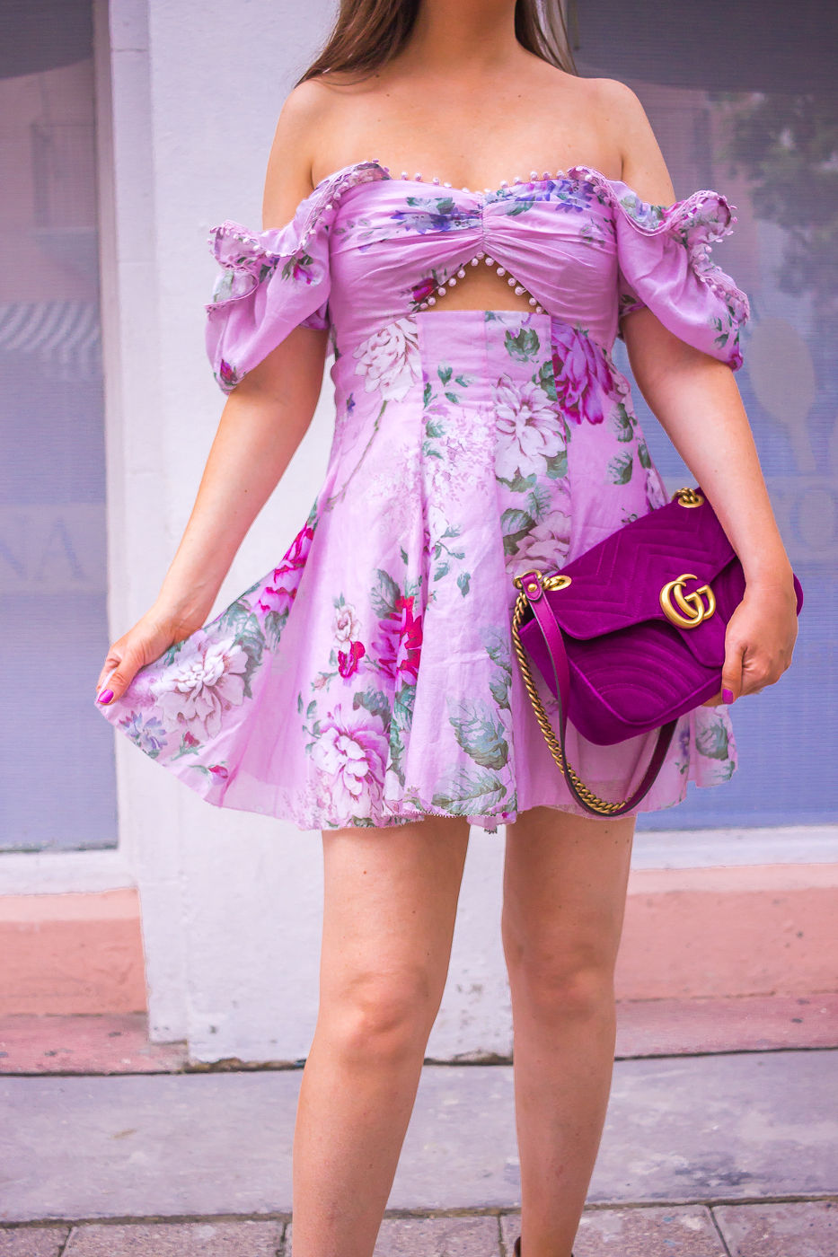 Alice McCall peony cutout dress | gucci marmont velvet bag | spring outfit | summer dress 2019