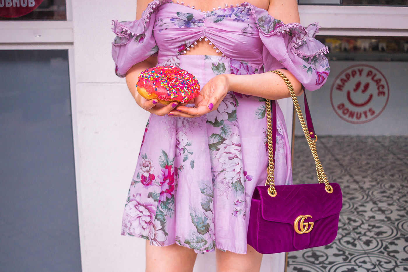 Alice McCall peony cutout dress | gucci marmont velvet bag | pink donut | spring outfit | summer dress 2019