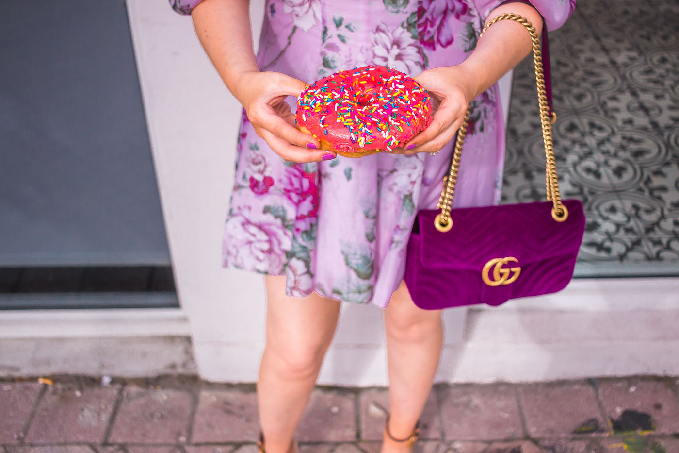 Alice McCall peony cutout dress | gucci marmont velvet bag |donut | spring outfit | summer dress 2019