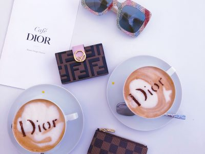 dior cafe, dior latte, fendi card case, louis vuitton key pouch, gucci glitter sunglasses