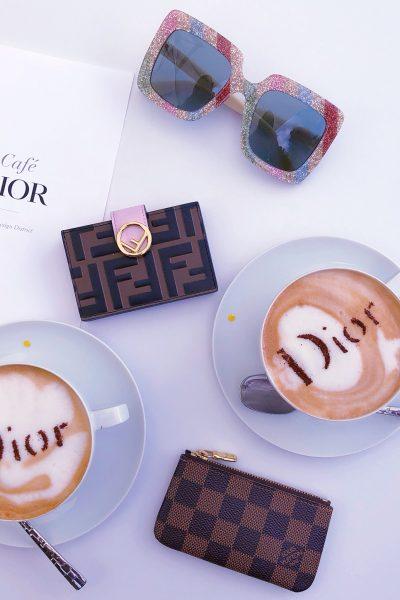 dior cafe, dior latte, fendi card case, louis vuitton key pouch, gucci glitter sunglasses