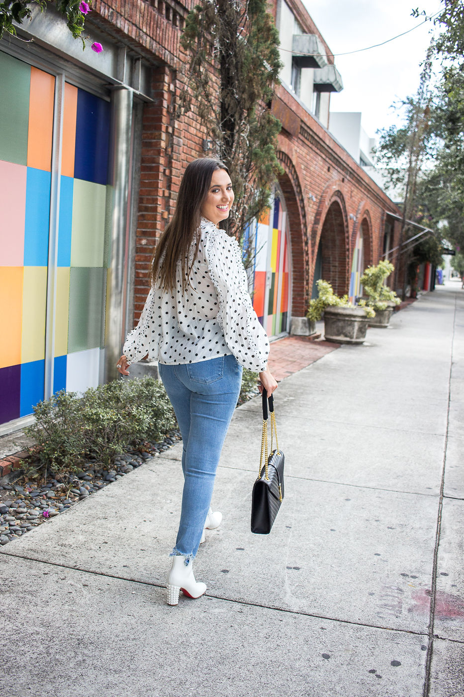 How To Wear White Boots All Year, white booties, white boots, christina louboutin suzi, louboutin white suzi booties, ulla johnson polkadot top, polkadot lace blouse, jbrand teardrop jeans, saint laurent monogram shoulder bag