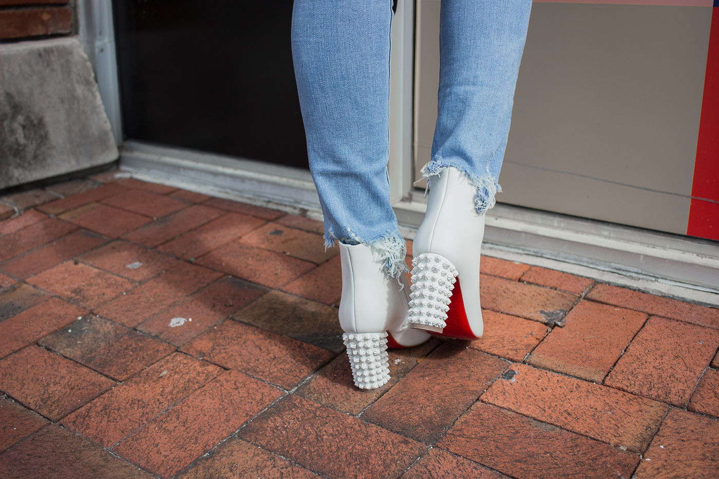 How To Wear White Boots All Year, white booties, white boots, christina louboutin suzi, louboutin white suzi booties