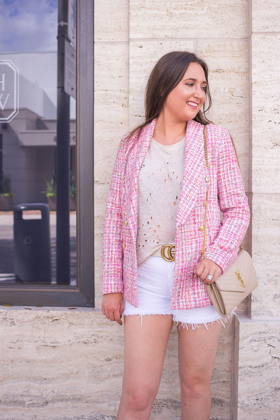 How To Instantly Look Stylish Everyday With Zero Effort, aqua bloomingdales blaxer, chanel dupe blazer, summer outfit, white gucci bely, ysl woc, nude ysl woc, pink gucci mules, miami style