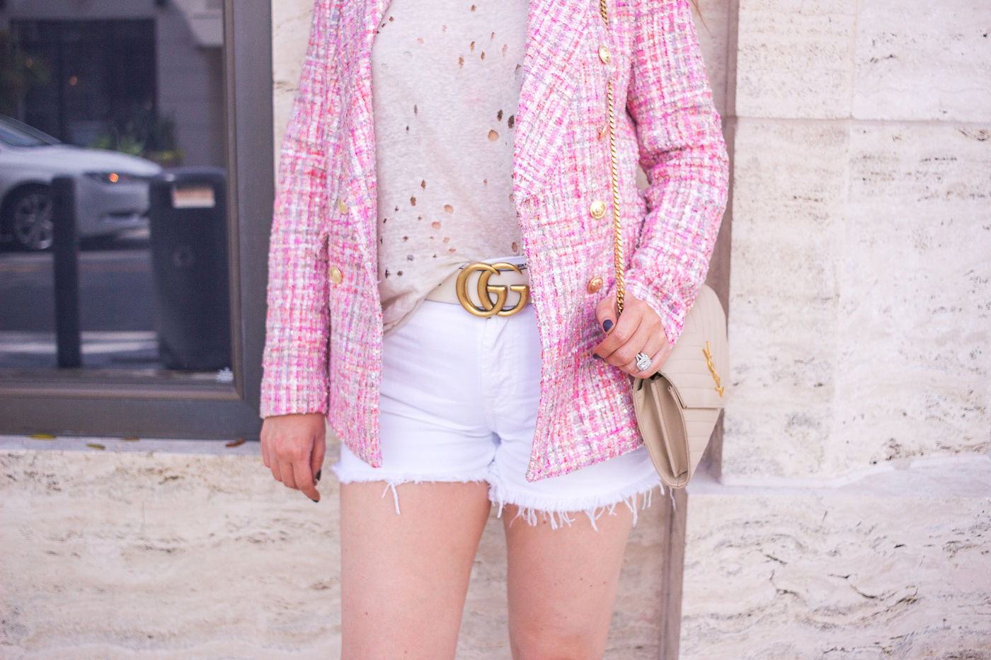 How To Instantly Look Stylish Everyday With Zero Effort, aqua bloomingdales blaxer, chanel dupe blazer, summer outfit, white gucci bely, ysl woc, nude ysl woc