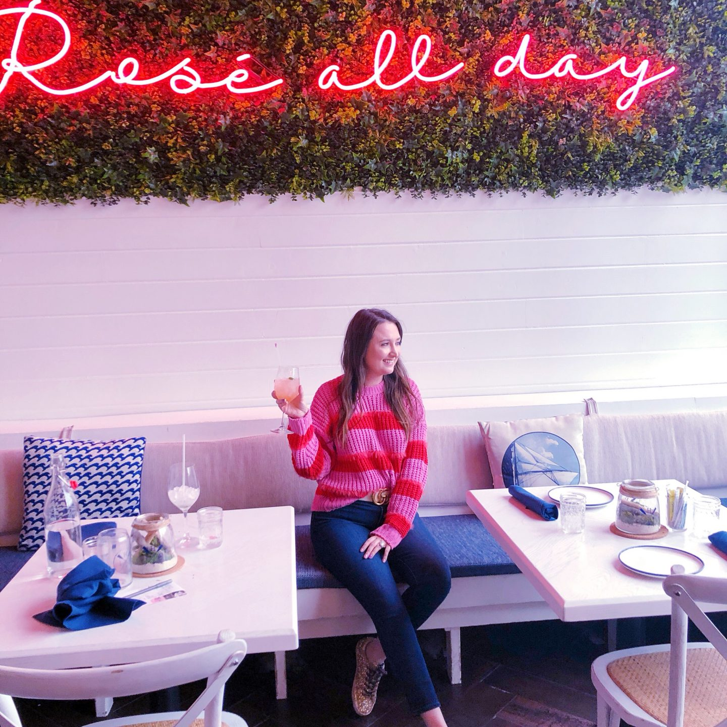 All The Amazing Things I Did On My Chicago Trip, rose all day, pink and red striped sweater, asos striped sweater, chicago hampton social