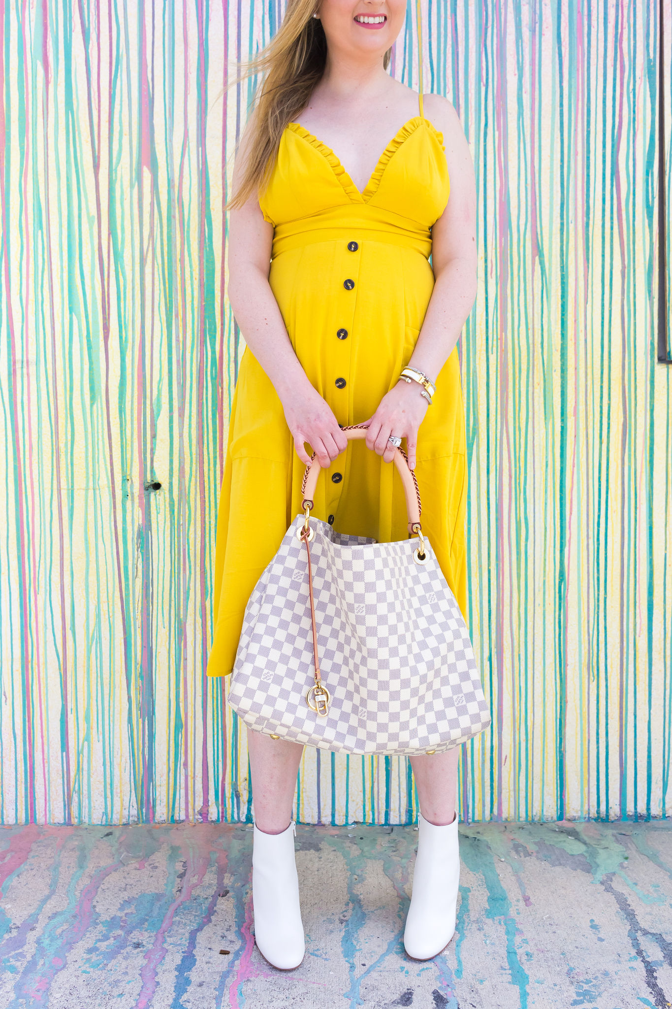 Aqua brand yellow dress | Louboutin suzi boots | Louis Vuitton Artsy | Louis Vuitton artsy damier azur | David Yurman cable bracelet | Hermes clic clac