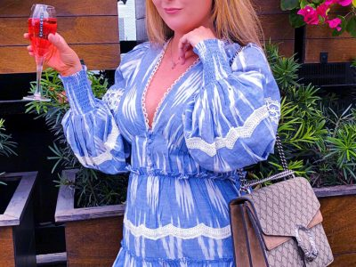 Astra Miami Will Make Your Instagram Likes Double Overnight, hemant and nandita dress, revolve dress, blue and white striped dress, gucci dionysus medium, hemant and nandita x revolve mini dress, astra miami