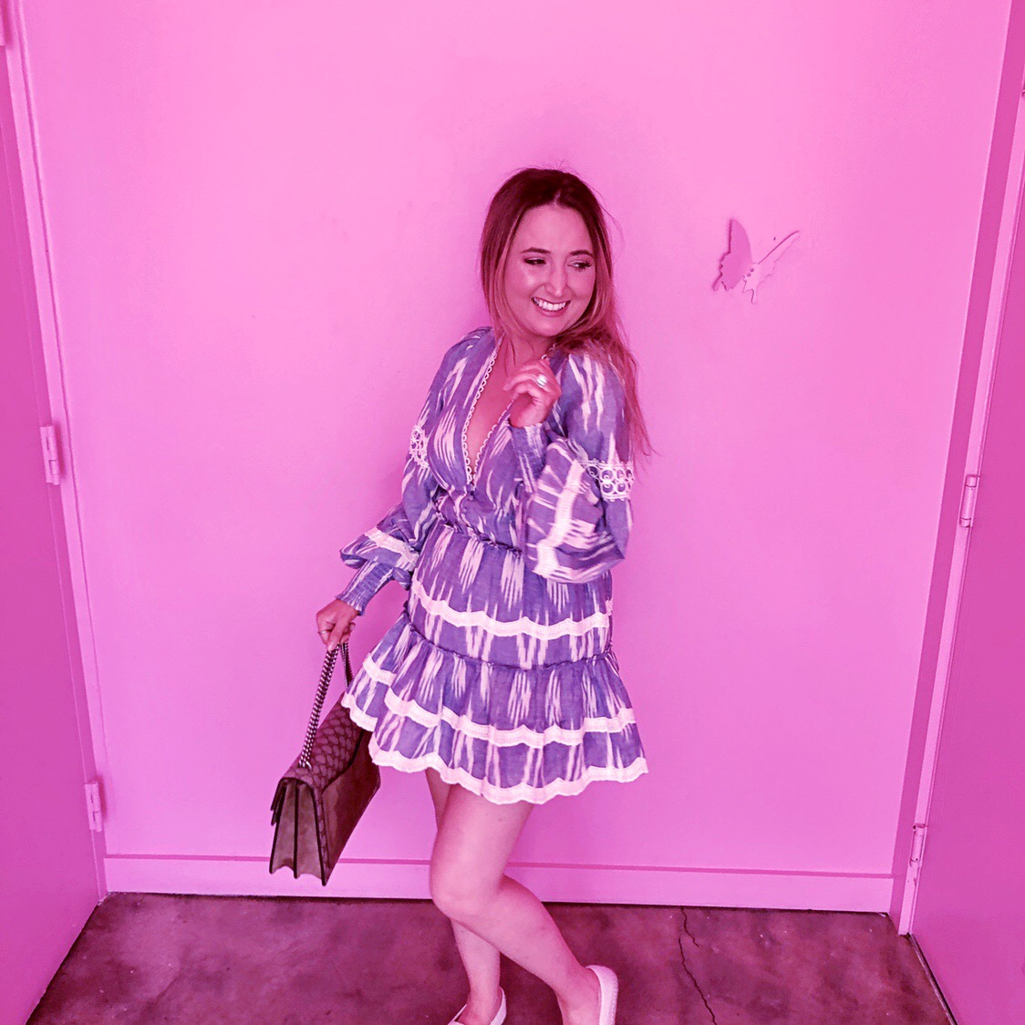 Astra Miami Will Make Your Instagram Likes Double Overnight, hemant and nandita dress, revolve dress, blue and white striped dress, gucci dionysus medium, hemant and nandita x revolve mini dress, astra miami, pink wall, pink butterfly wall