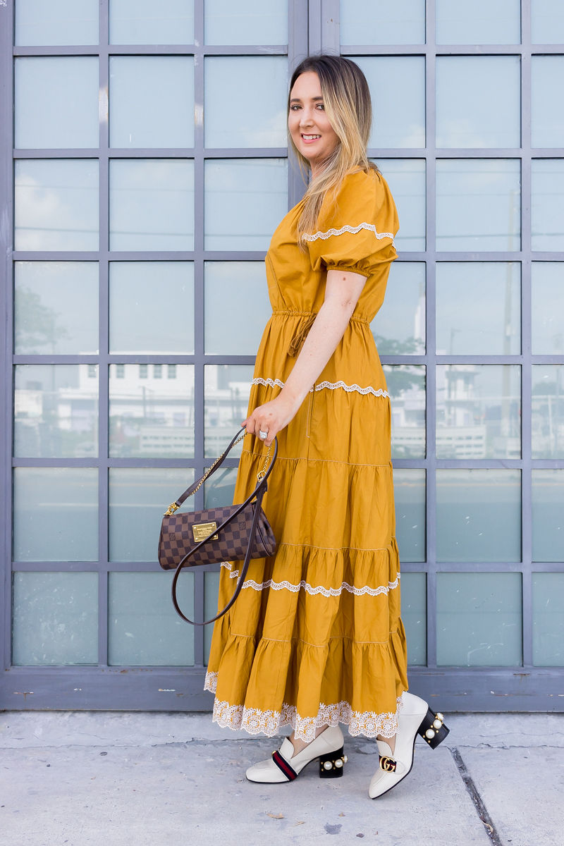 The Best Fall Clothing Splurges and Saves for 2019, ulla johnson, fall look, fall outfit, fall designer look, ulla johnson dress, ulla johnson claribel dress, gucci pearl loafers