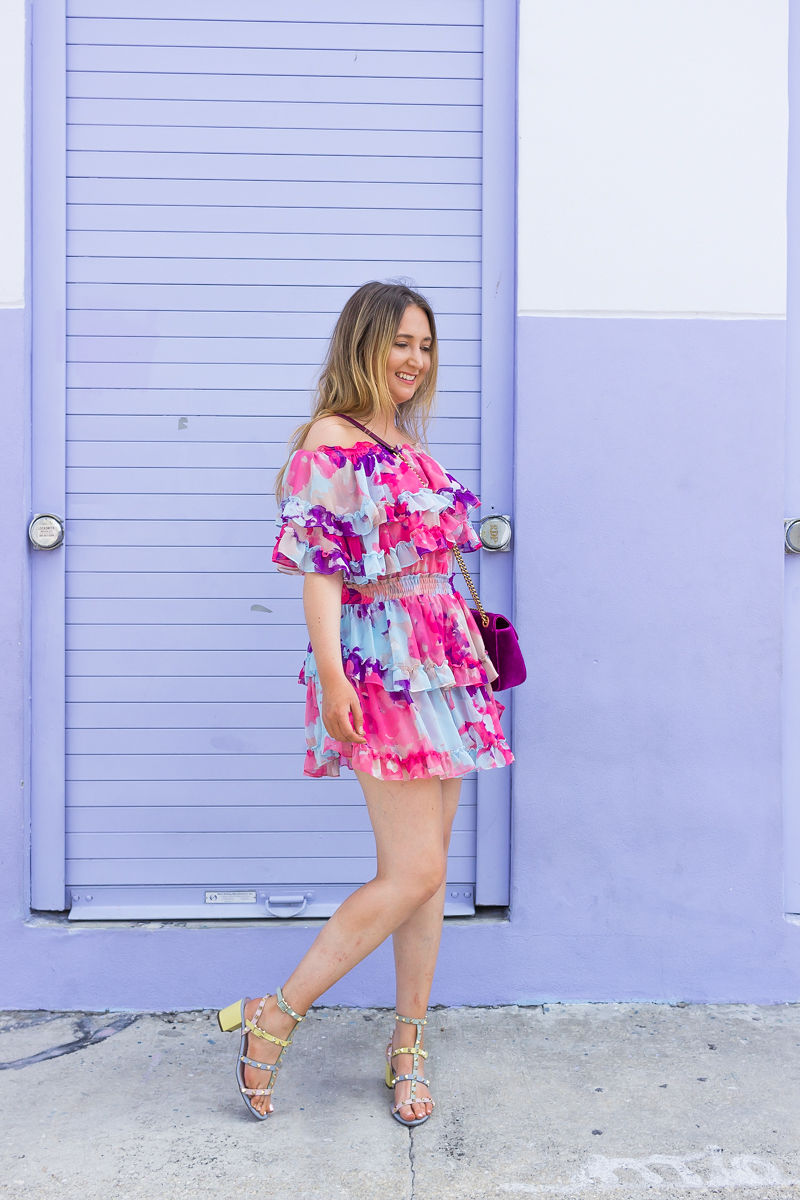 How To Look Effortlessly Stylish This Summer, misa los angeles water color dress, misa los angeles dress, misa los angeles isella dress, isella dress, valentino rockstud sandals, summer dress, gucci marmont velvet bag