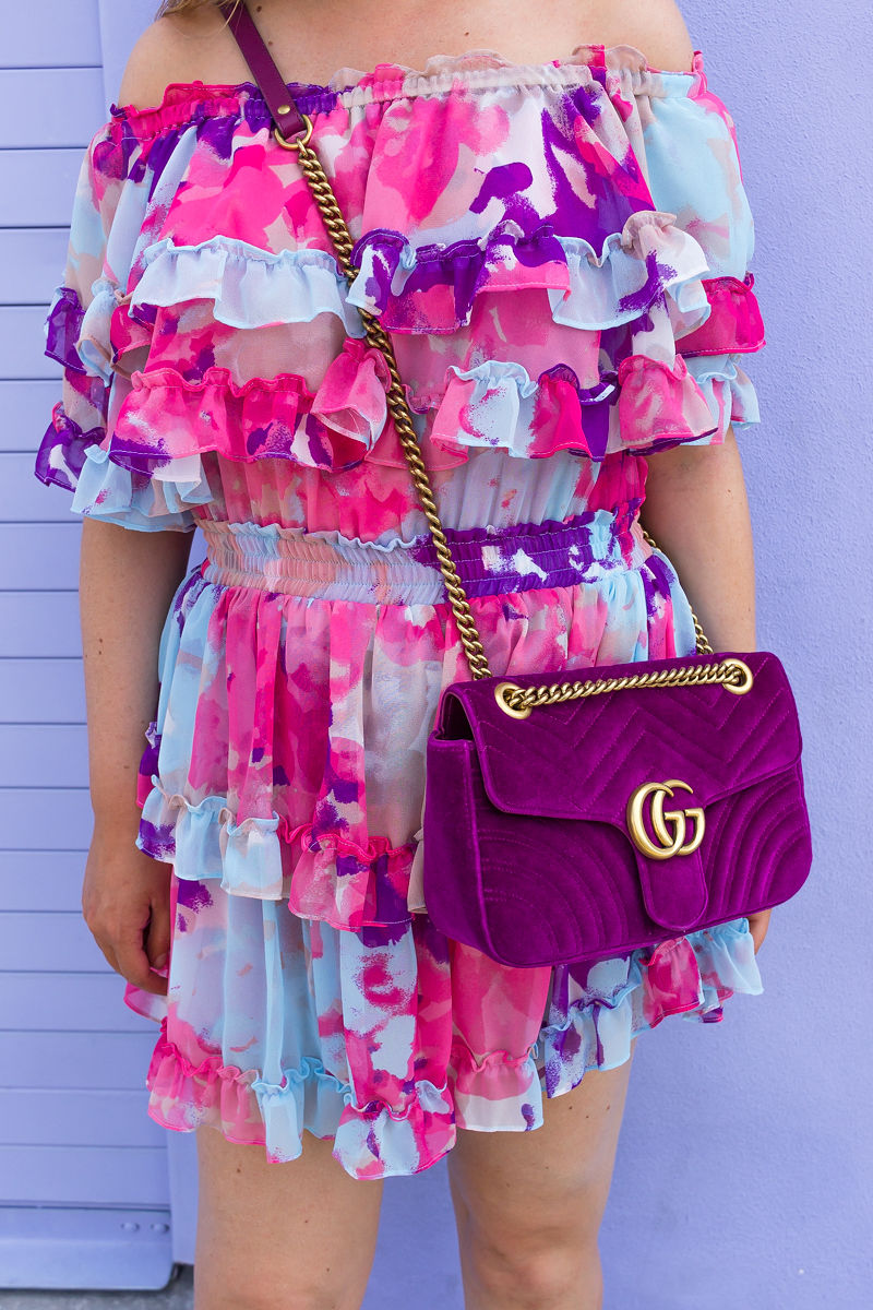 How To Look Effortlessly Stylish This Summer, misa los angeles water color dress, misa los angeles dress, misa los angeles isella dress, isella dress, summer dress, gucci marmont velvet bag, gucci marmont
