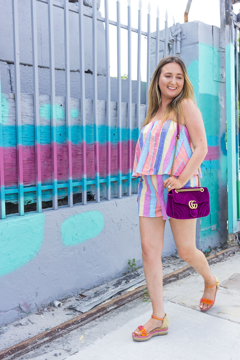 How To Look Pretty When You Feel Ugly, show me your mumu romper, show me your mumu thelma romper, striped romper, summer outfit, gucci marmont velvet bag, gucci marmont purple velvet, louboutin cataclou, louboutin cataclou low platforms, cute summer outfit, summer outfit inspiration, how to feel pretty