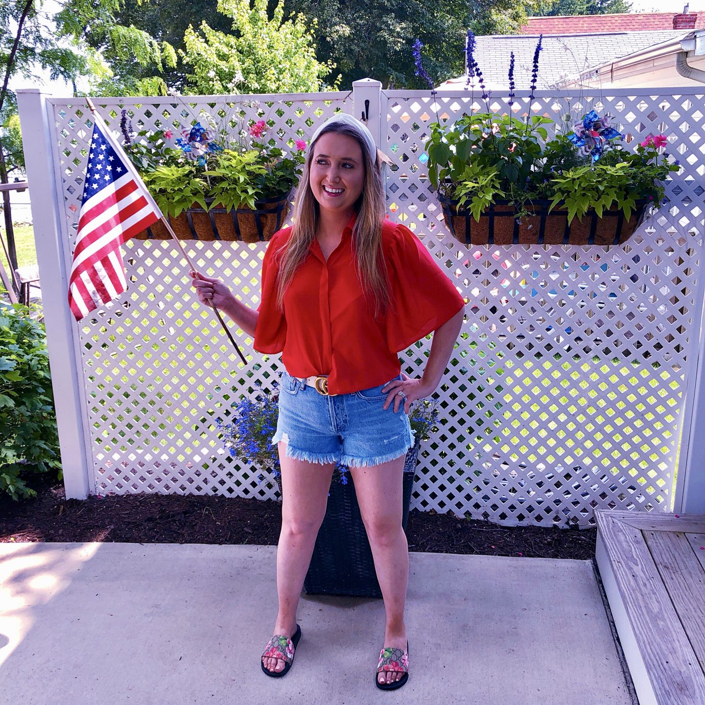Simple Summer Getaway To Manitou Beach Michigan!, 4th of july outfit, white gucci belt, gucci slides, red blouse, american outfit, american clothes, patriotic outfit