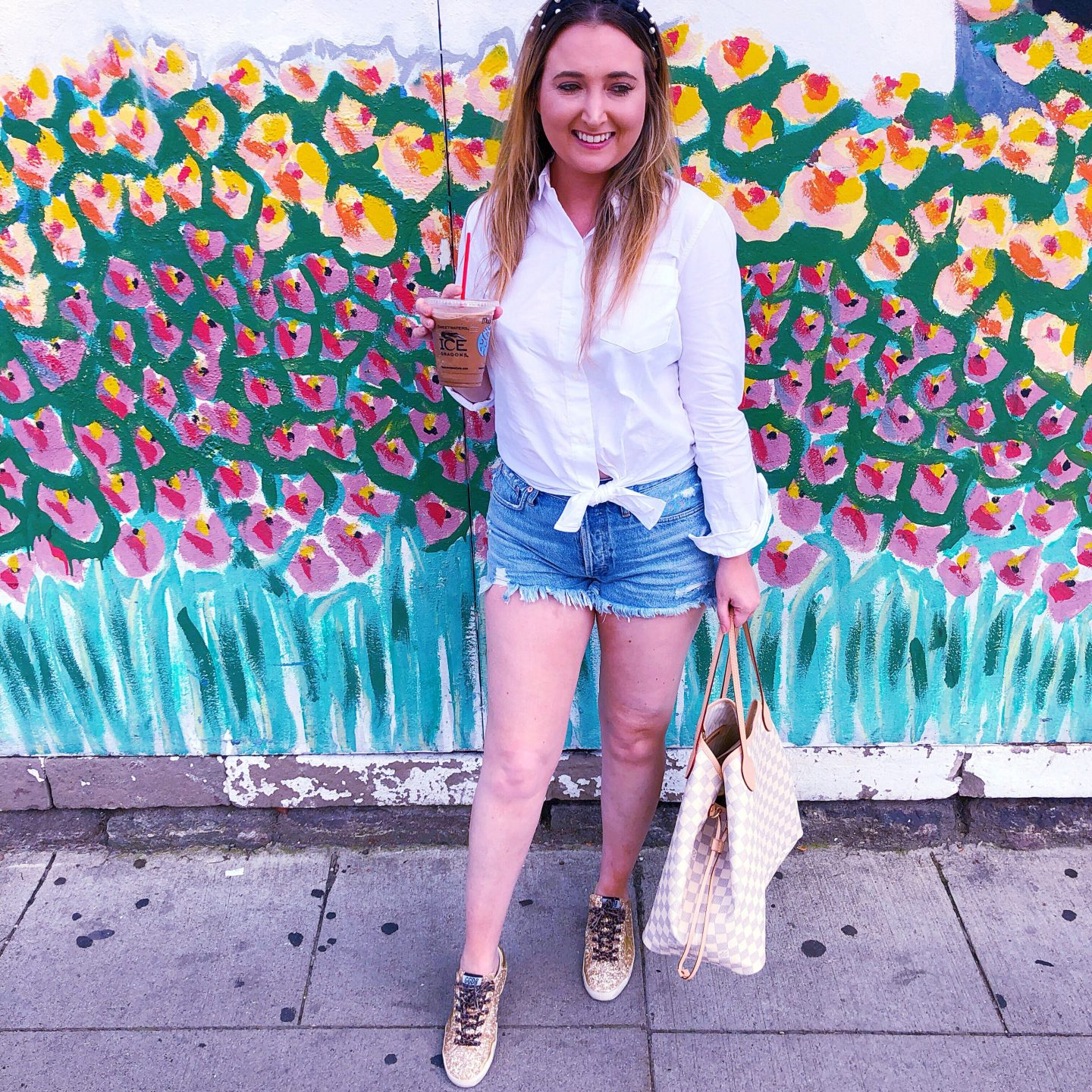 ann arbor michigan, blank slate creamery, ice cream, madewell shirt, agolde denim shorts, pearl headband, golden goose sneakers, louis vuitton neverfull gm, louis vuitton neverfull damier azur