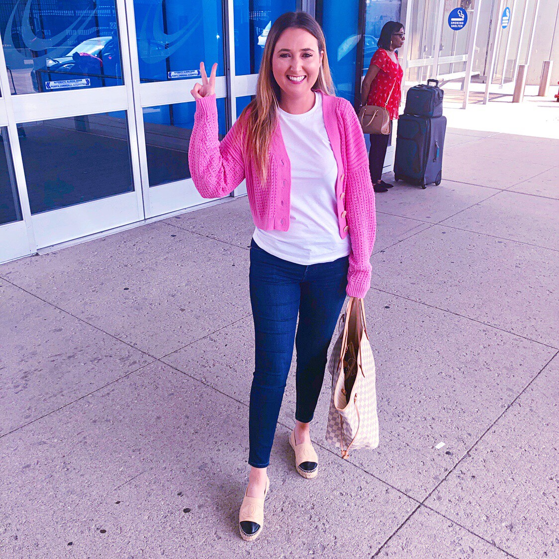 Simple Summer Getaway To Manitou Beach Michigan!, summer getaway, pink cardigan, travel outfit, airport ourfit, chanel espadrilles, louis vuitton neverfull gm damier azur