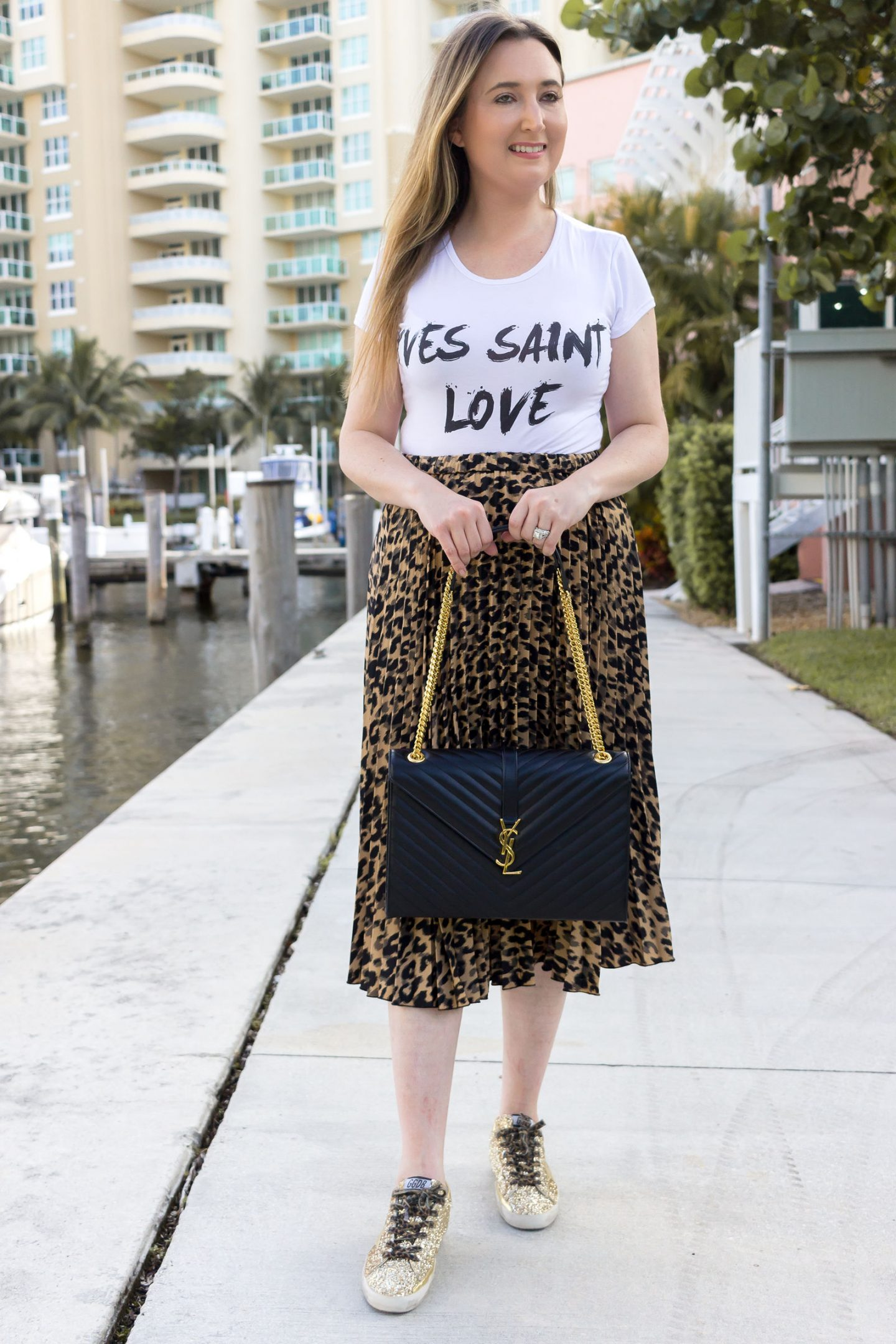 Where To Get The Saint Laurent Look For Less, femme luxe, femme luxe US, yves saint laurent shirt, ysl shirt, yves saint love, ysl monogram shoulder bag, golden goose glitter sneakers, leopard midi skirt, leopard skirt
