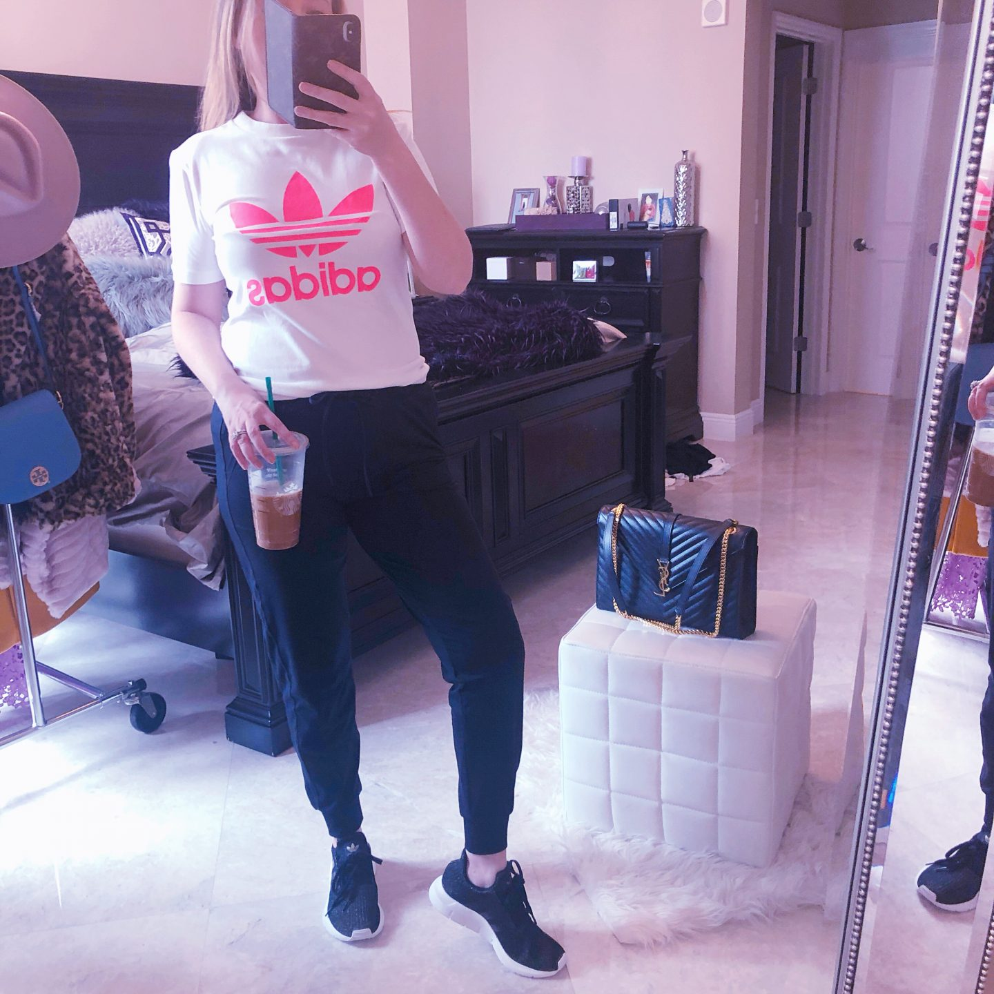 Nordstrom Anniversary Sale Athleisure, adidas neon shirt, black joggers, zella joggers