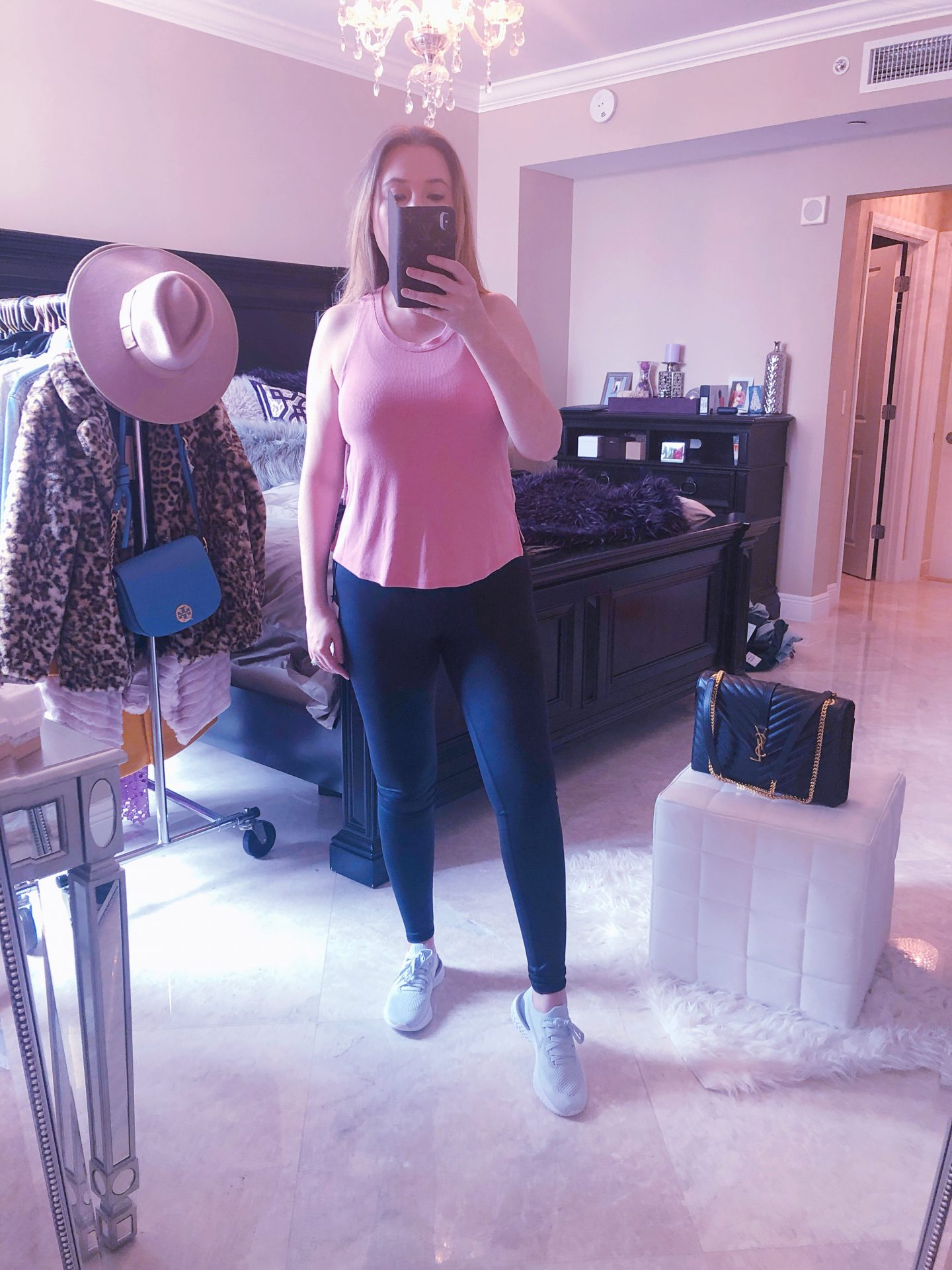 Nordstrom Anniversary Sale Athleisure, alo shine leggings, zella pink top, adidas sneakers