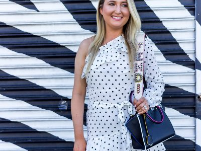 A Designer Inspired Dress That Won't Cost You A Fortune, femme luxe, femme luxe dress, polkadot dress, polk-a-dot dress, valentino rockstud booties, black valentino rockstud booties, fendi mini 3jours, fendi bag strap