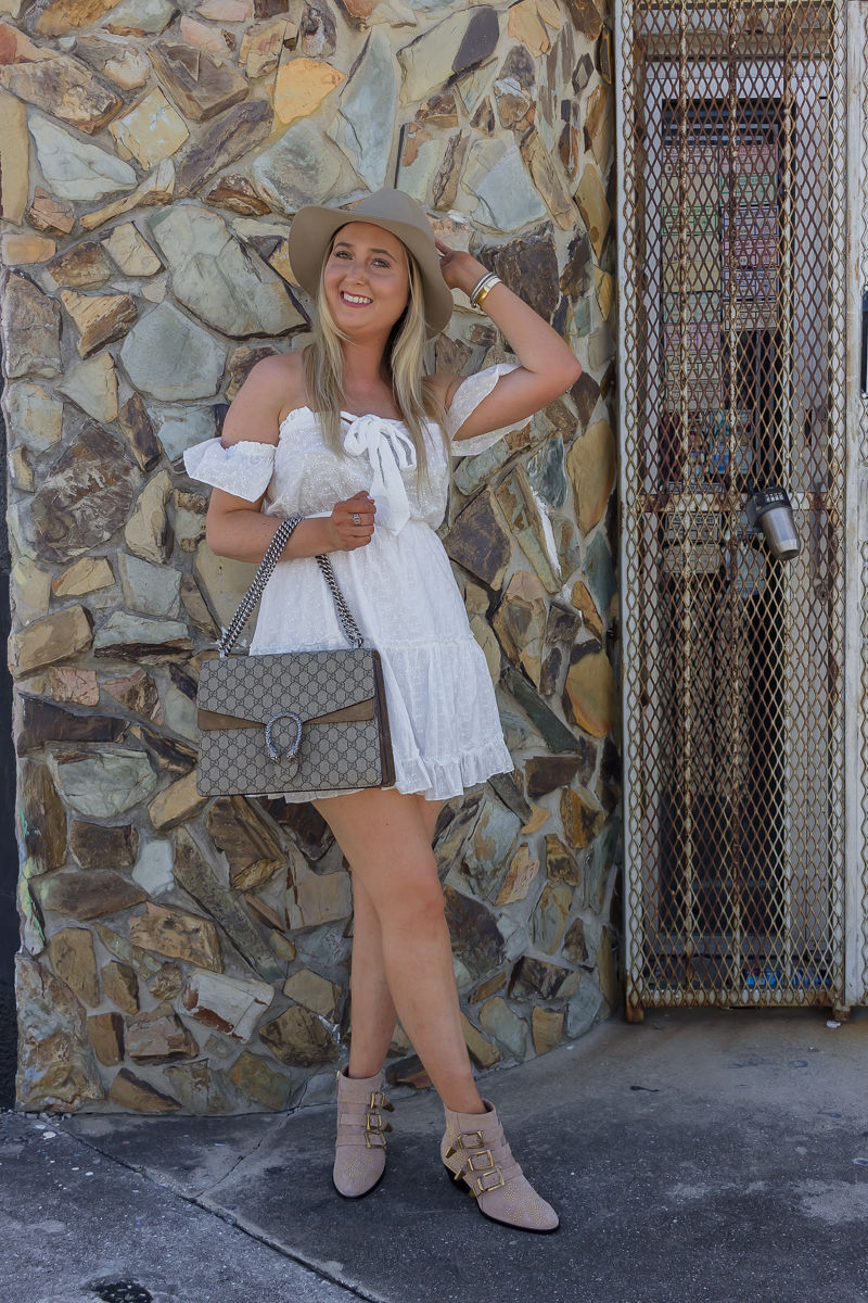 How To Look Expensive Under $100, pre fall look, summer to fall look, white off the shoulder dress, princess polly dress, chloe susanna, chloe susanna booties, gucci dionysus bag