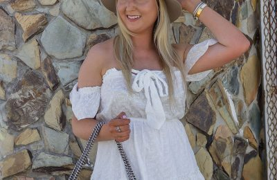How To Look Expensive Under $100, pre fall look, summer to fall look, white off the shoulder dress, princess polly dress