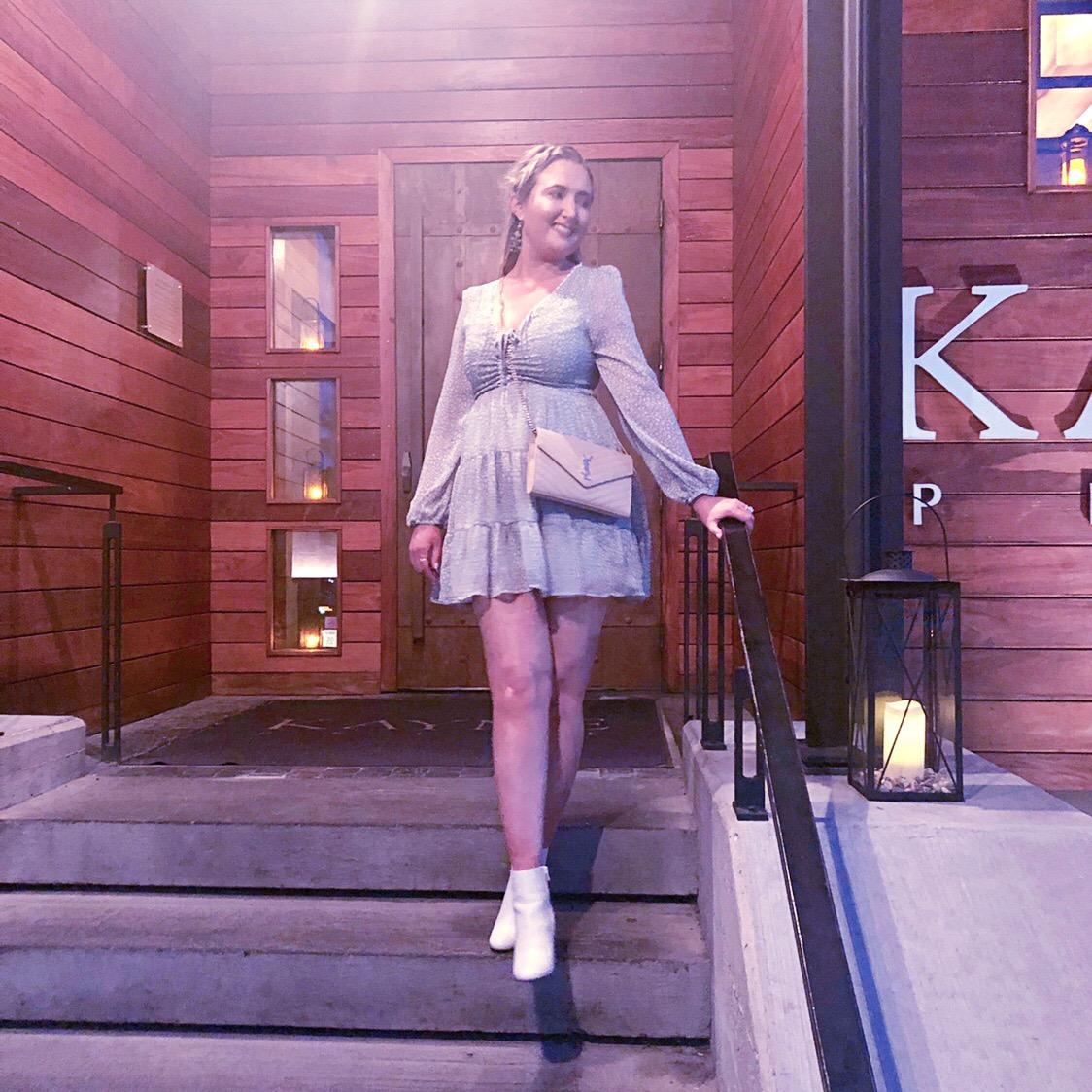 nashivlle style, nashville look, white booties, princess polly long sleeve dress, saint laurent handbag