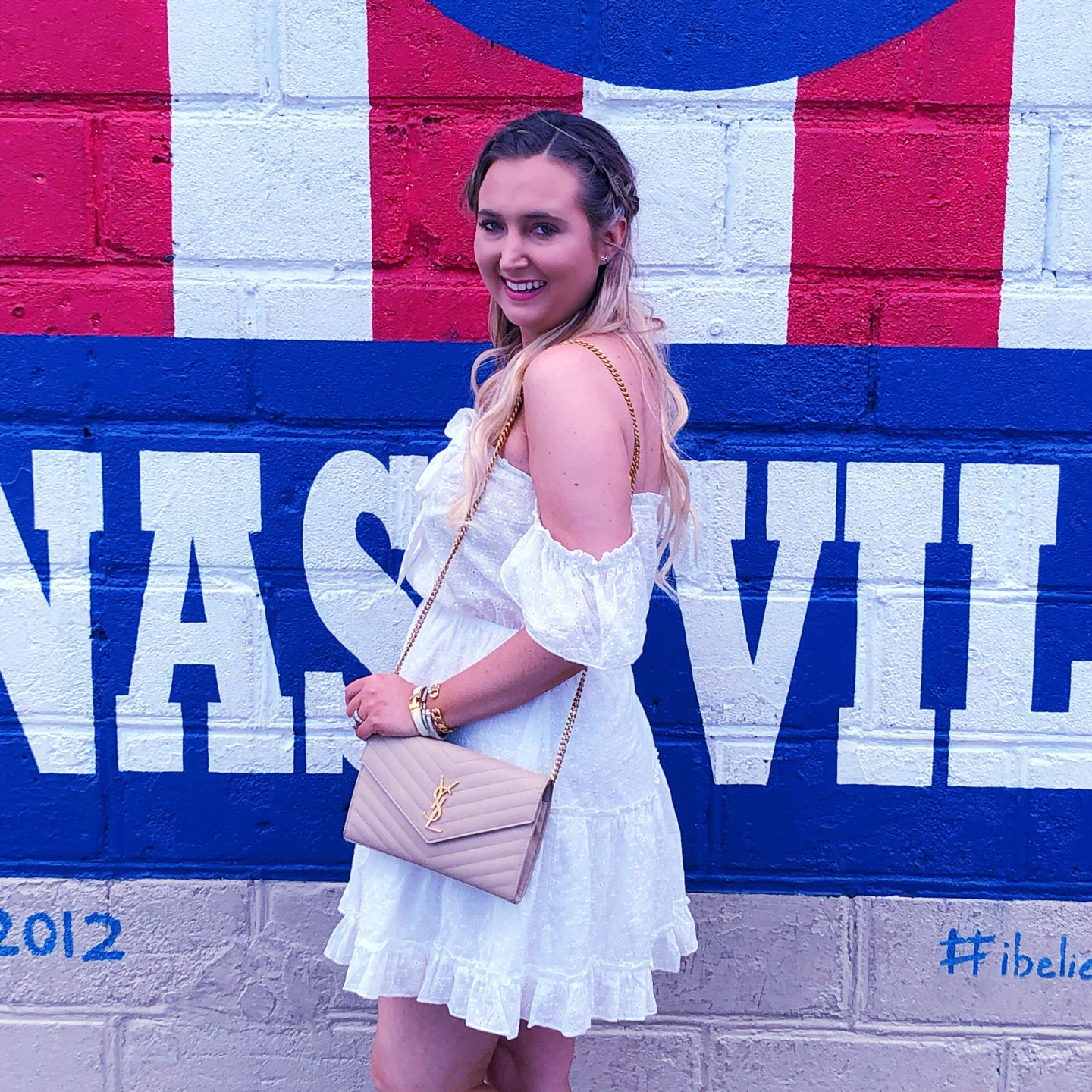 What to Wear When in Nashville, i believe in nashville mural, ysl woc, princess polly white dress, princess polly dress