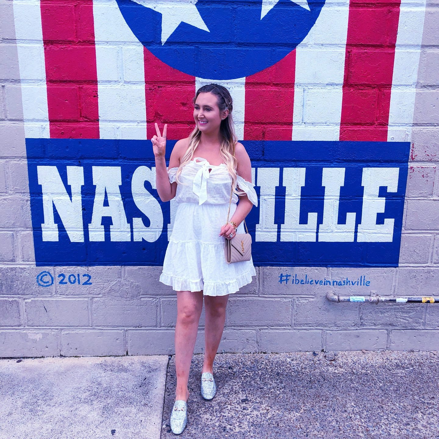 What to Wear When in Nashville, i believe in nashville mural, ysl woc, princess polly white dress, princess polly dress, glitter gucci mules