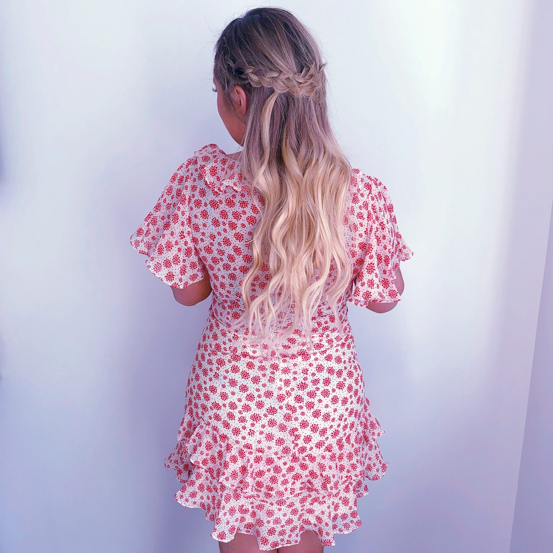 braid, braided hair, blonde braid styles, princess polly dress, nashville dress, nashville boho dress