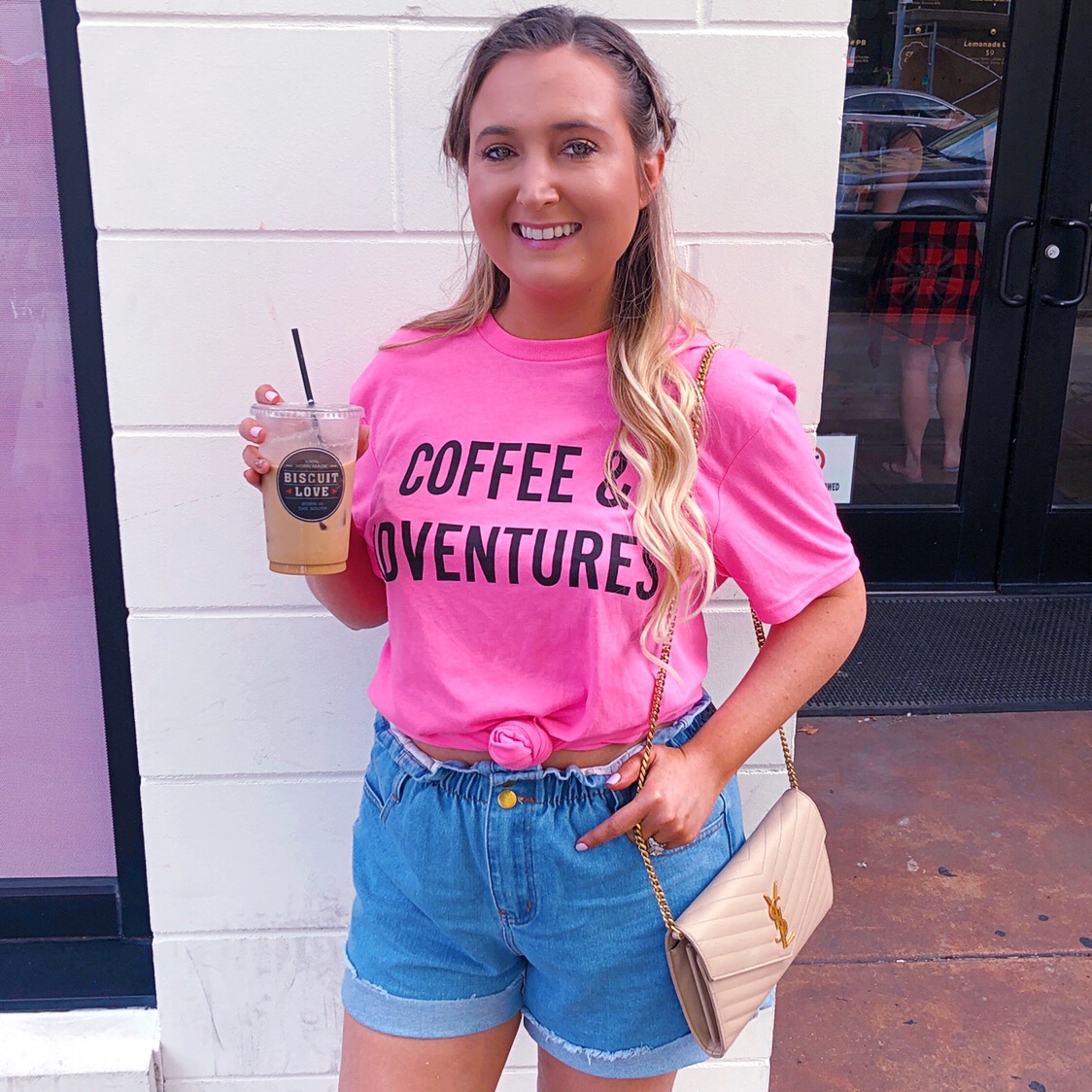 paper bag denim shorts, princess polly shorts, princess polly denim shorts, coffee graphic tee, coffee and adventures graphic tee, ysl woc