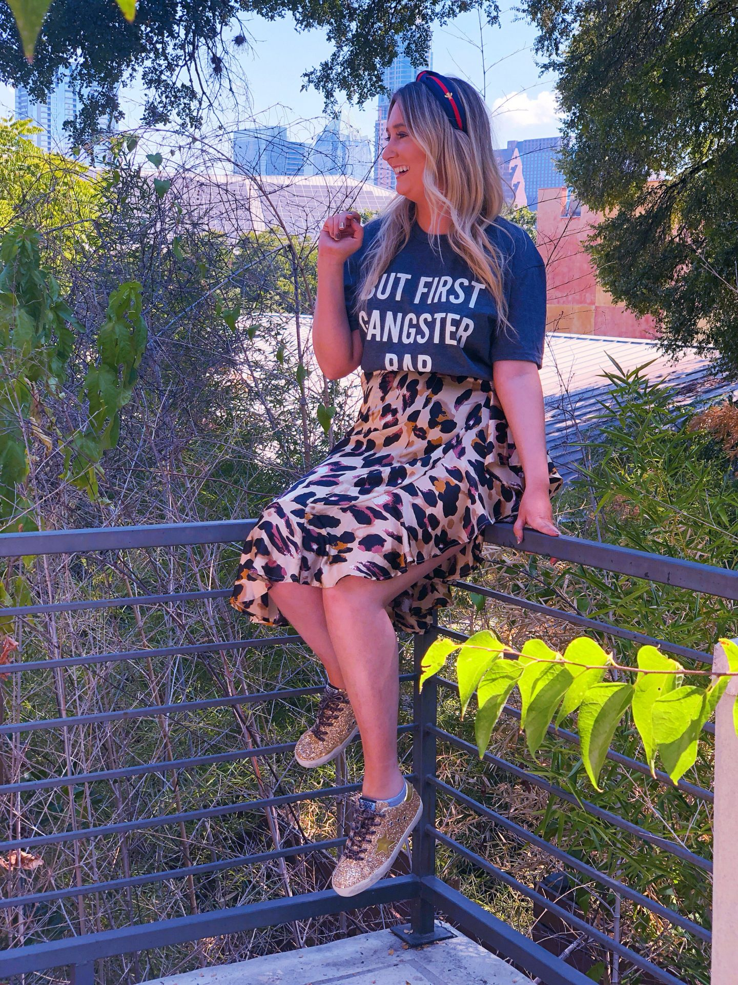 How to Pack for Visiting Austin, TX, amazon fashion, leopard skirt, graphic tee, but first gangster rap shirt, golden goose sneakers, golden goose dupes, gucci headband