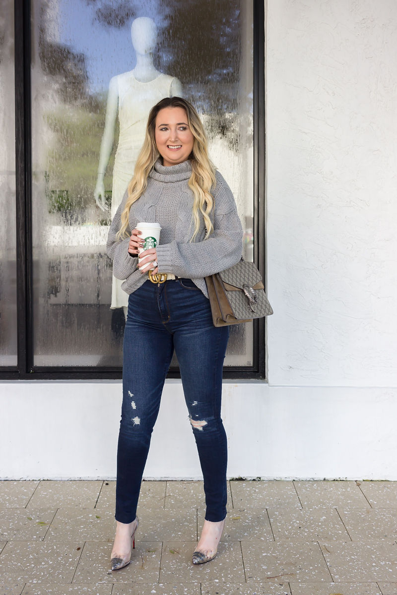 Look Expensive This Fall With These 3 Tips, amazon sweater, amazon fashion finds, abercrombie jeans, gucci dionysus, christian louboutin pvc heels, fall look, fall inspo, best fall sweater, cute fall sweaters, white gucci belt, white gucci marmont belt