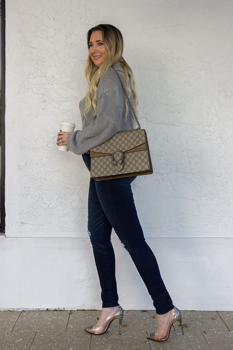 Look Expensive This Fall With These 3 Tips, amazon sweater, amazon fashion finds, abercrombie jeans, gucci dionysus, christian louboutin pvc heels, fall look, fall inspo, best fall sweater, cute fall sweaters