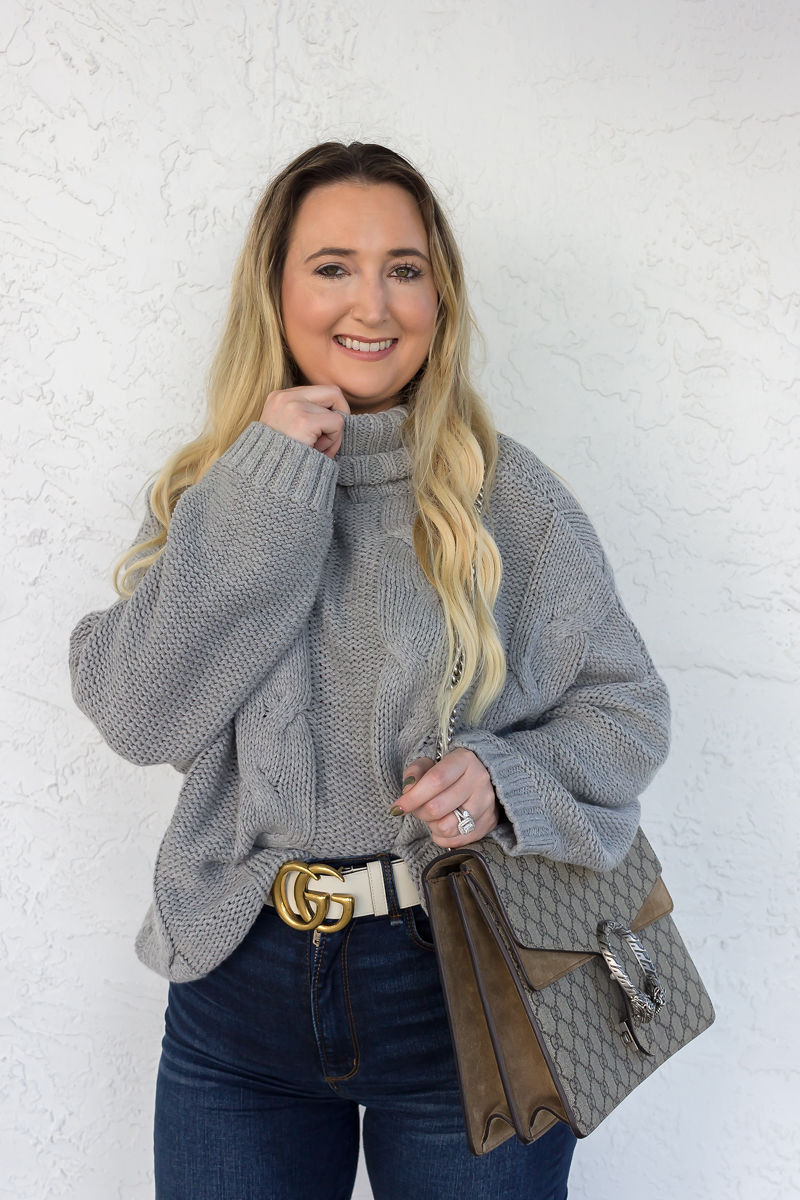 Look Expensive This Fall With These 3 Tips, amazon sweater, amazon fashion finds, abercrombie jeans, gucci dionysus, fall look, fall inspo, best fall sweater, cute fall sweaters, white gucci belt, white gucci marmont belt