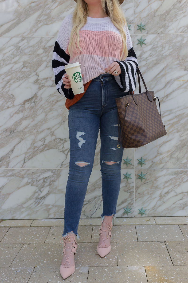 Look Expensive In This $27 Color Blocked Sweater, brixton hat, color block sweater, amazon sweater, abercrombie jeans, louis vuitton neverfull mm, louis vuitton neverfull rose ballerine, aquazzura pink heels