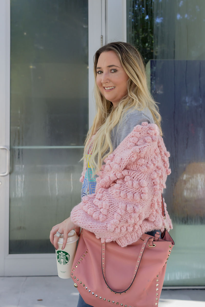 Here Is The BEST Amazon Graphic T-Shirt!, coffee shirt, amazon fashion finds, abercrombie ripped jeans, abercrombie distressed jeans, chicwish pom pom cardigan, chicwish pink cardigan, valentino rockstud tote, jadior pumps, starbucks reusable cup, pink valentinto tote