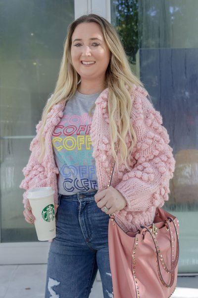 Here Is The BEST Amazon Graphic T-Shirt!, coffee shirt, amazon fashion finds, abercrombie ripped jeans, abercrombie distressed jeans, chicwish pom pom cardigan, chicwish pink cardigan, valentino rockstud tote, pink valentinto tote